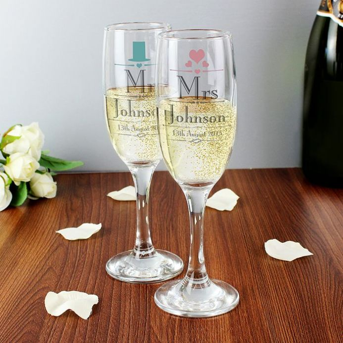 Personalised Decorative Wedding Mr & Mrs Flutes